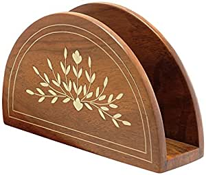 SouvNear Wooden Napkin Holder with Petal Motifs Inlay Work - Decorative Centrepiece for Table - Kitchen Dining Table Accessories