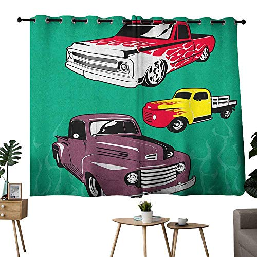 Mannwarehouse Truck Bedroom Windproof Curtain Colorful Vintage Pickups and Flatbed Flame Motif in The Hood Retro Vehicle Design Set of Two Panels 63