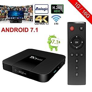 ESHOWEE Tanix Mini Android 7.1 TV Box Amlogic S905W Quad-core 64 Bit DDR3 1GB 16GB 4K UHD WiFi and LaN VP9 DLNA H.265