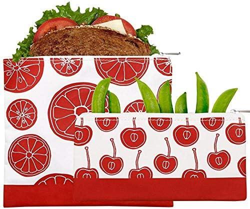 Lunchskins Reusable 2 Piece Zippered Food Storage Bag Set, 1 Sandwich Bag + 1 Snack Bag, Red Fruit