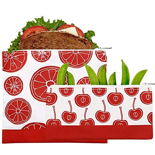 Lunchskins MP-ZIP-FRUIT-RED Reusable Zippered 2-Pack Set Food, Storage Bags, 1 Sandwich + 1 Snack,