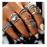 Edtoy 1 set of 14pcs Alloy European and American Bohemian Style Women's Turquoise Rings