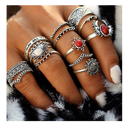 edtoy-1-set-of-14pcs-alloy-european-and-american-bohemian-style-womens-turquoise-rings