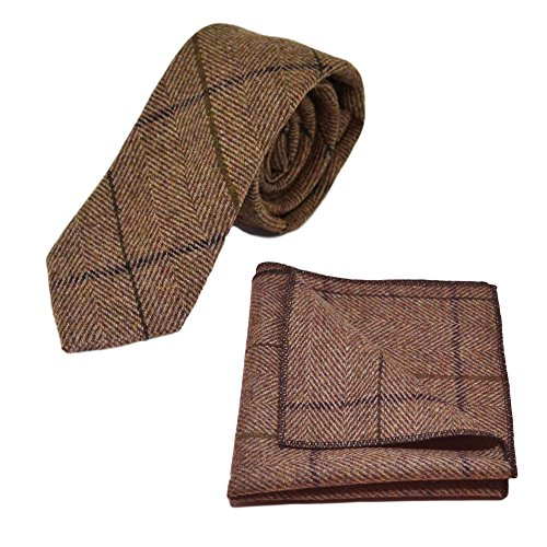 Brown Square Set amp; Luxury Tweed Pocket Tie Peanut Herringbone Check B7qT7w