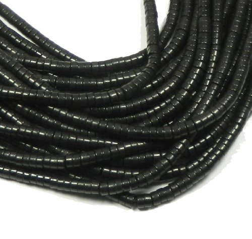 Chalk Turquoise Beads (4mm Heishi Chalk Turquoise Dyed Black Gemstone Beads Approx 30