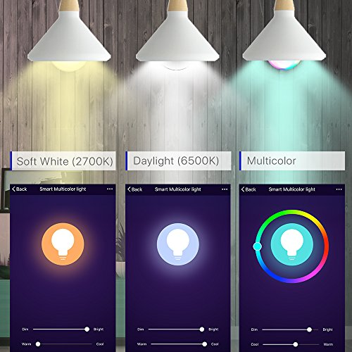 Smart WiFi Light Bulb, LED RGB Color Changing, Compatible with Amazon Alexa and Google Home Assistant, No Hub Required, A19 E26 Multicolor LUMIMAN 2 Pack by LUMIMAN (Image #5)
