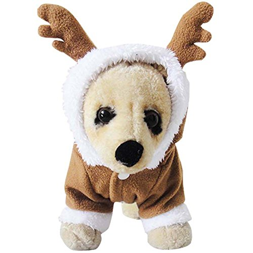 [MIXMAX Pet Puppy Dog Christmas Clothes Reindeer Costume Outwear Coat Apparel Hoodie (Reindeer,] (Dog Outfits For Christmas)