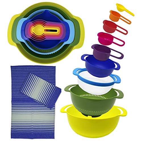 Nesting Plastic Mixing Bowls Set with Pour Spout, Colander, Sieve, Measuring Cups and Spoon Set + Kitchen Towels (Dishwasher Microwave Safe)
