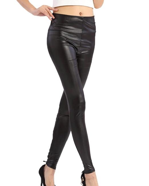 086ef44513 Gladiolus Pantaloni Similpelle Donna Pu Pelle Pantaloni A Vita Alta ...