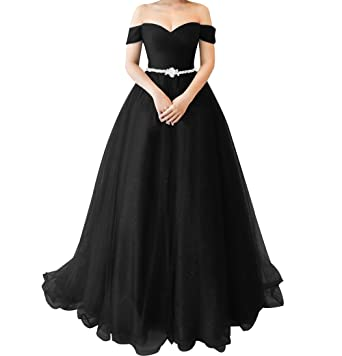 LiCheng Bridal Sparkly Off Shoulder Tulle Princess Prom Dress Long Party Ball Gown with Crystal Belt