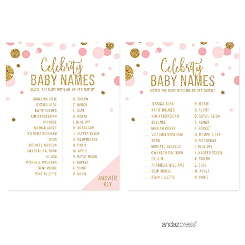 Shower Name Tags - Andaz Press Blush Pink Gold Glitter Girl Baby Shower Party Collection, Games, Activities, Decorations, Celebrity Name Game Cards, 20-pack