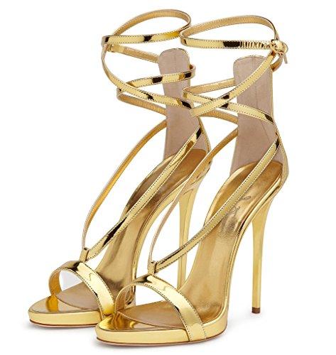 Fibbia alto partito Amy Oro alto Fibbia Ankle Open Strap il scarpe del per ... 239105