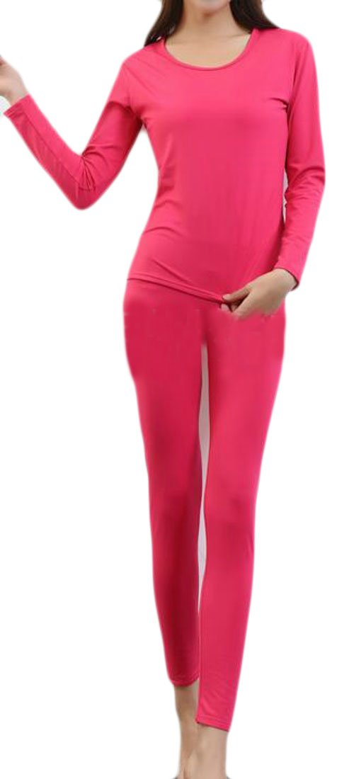 Fulok Womens Plus Size Crewneck Stretch Long Johns Thermal Underwear