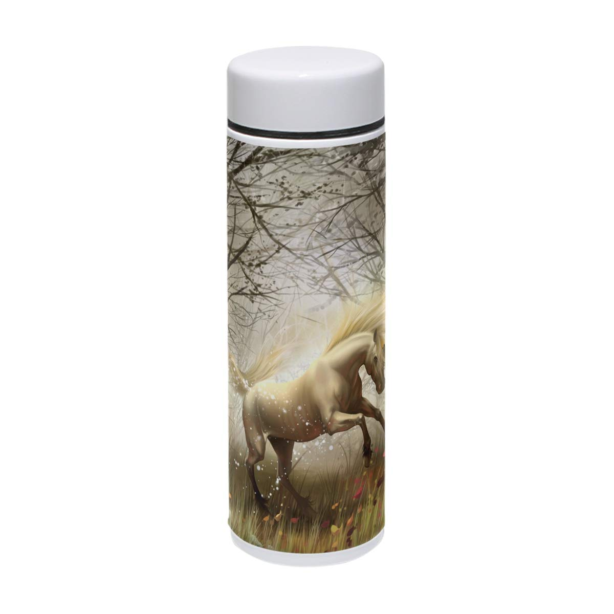 DEYYA Horse Wood Magic Wind Transformation Stainless Steel Vacuum Insulated Double Walled Thermos Water Bottle Keeps Your Drink Hot & Cold | 7.5 Oz (220 ml)