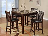 Home Source 50902118 5-Piece Norwalk Collection Asian Hardwood Counter Height Dining Set, 36 by 42 by 42-Inch, Espresso/Faux Brown Marble For Sale