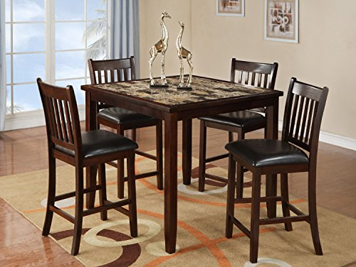 Home Source 50902118 5-Piece Norwalk Collection Asian Hardwood Counter Height Dining Set, 36 by 42 by 42-Inch, Espresso/Faux Brown Marble
