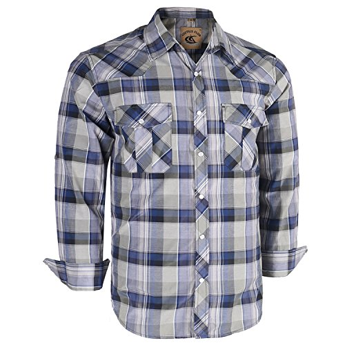 Coevals Club Men's Long Sleeve Casual Western Plaid Snap Buttons Shirt (L, 13#Gray,Blue)