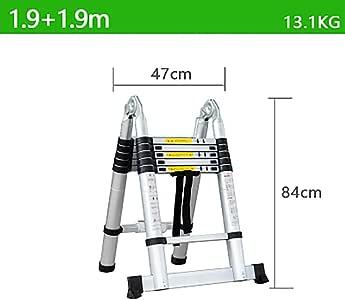 Telescópico Plegable Escalera,aluminio Aleación Escaleras De Mano Extensible Multifunción Escalera Portátil Escalera De Servicio Pesado-c2 1.9+1.9m: Amazon.es: Bricolaje y herramientas
