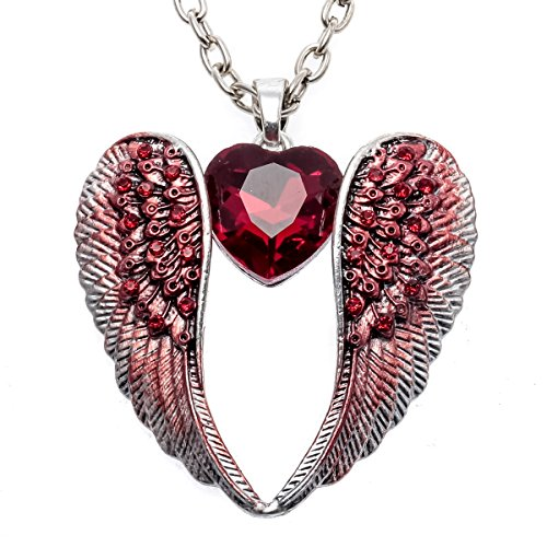 (Stephenie Crystal Angel Wings Pendant Necklace Women's Biker Jewelry)