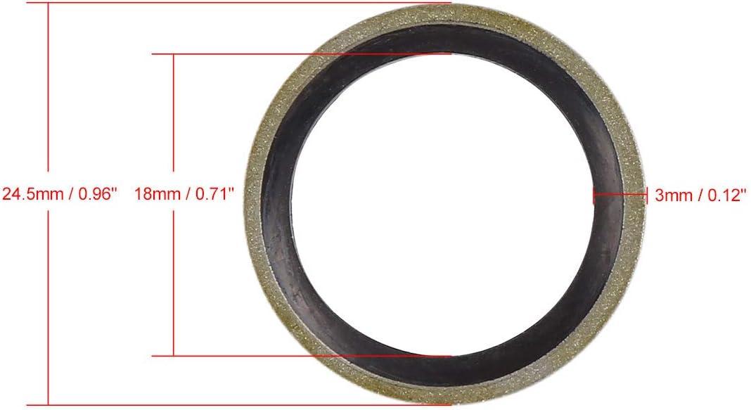 sourcing map 10pcs M18 Ton Bronze Voiture Huile Moteur Plate Rondelle coll/ée Joint