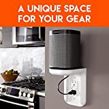 ECHOGEAR Outlet Shelf – A Space-Saving Solution For Anything Up to 10lbs – Built-In Cable Channel - Easy Install With Hardware Included - Ideal For Sonos and Smart Home Speakers