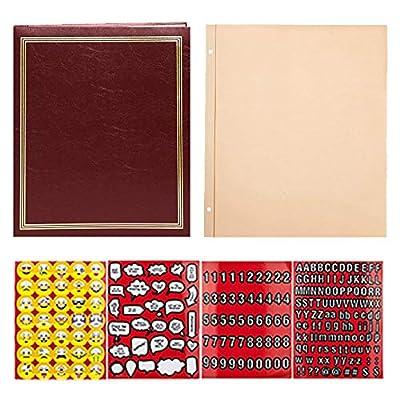 Pioneer Photo Album 100 Page Scrapbook Jumbo Post Bound Scrapbook Burgundy + Pioneer 50 Page Refill + Scrapbook Emoji Stickers