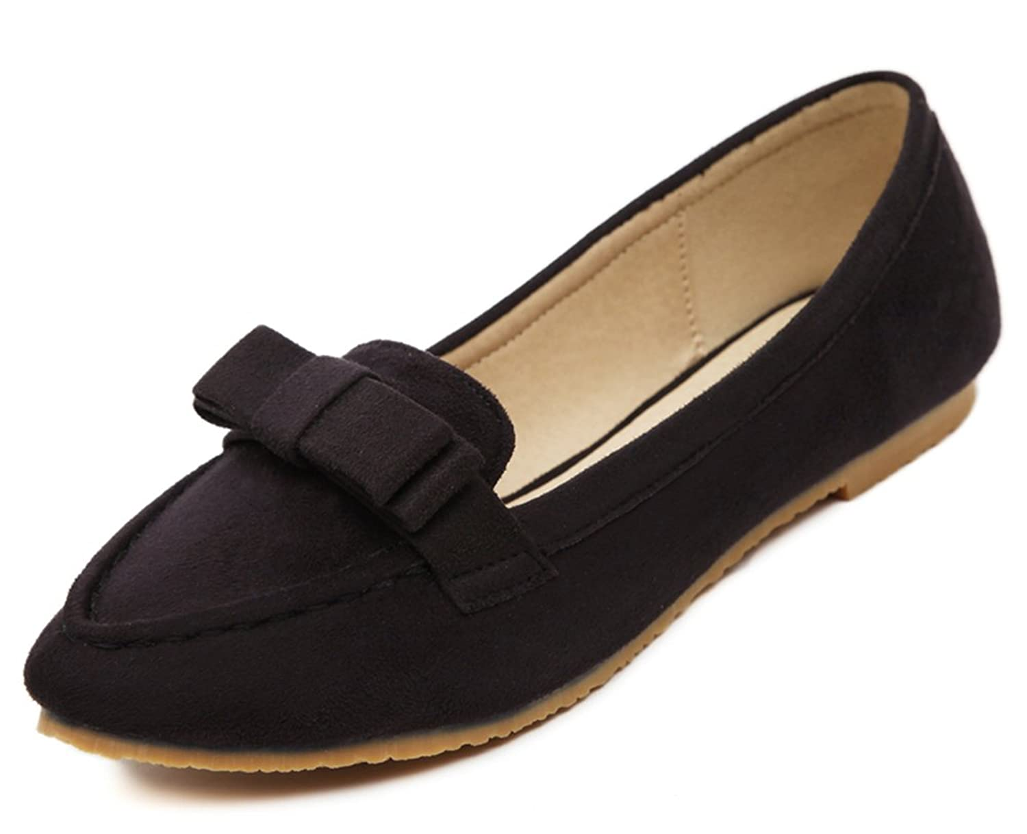 Aisun Women's Simple Sweet Bowknot Low Cut Loafers