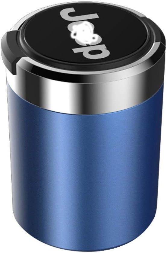 Cendrier Cendrier De Voiture Bleu Avec Indicateur LED Bleu Avec Couvercle Noir Rouge Or Compatible Avec Jeep Color : C