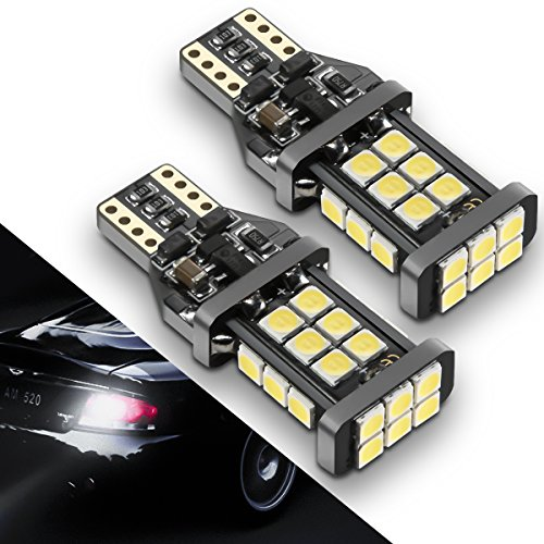 [2018 UPGRADED] 921 LED Bulb Backup Lights, 912/T15 Reverse Lights, SEALIGHT Error Free Non-polarity High Power 24 LED Chipsets 1600 Lumens Cool White Xenon 6000K, 1 Yr Warranty (Pack of 2) (Malibu Traditional Trim)