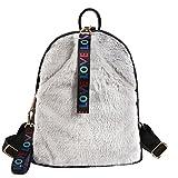 Braceus Women's Plush Palm Warm Velvet Backpack Nylon Shoulder Bag Cute Tote Satchel (Grey)