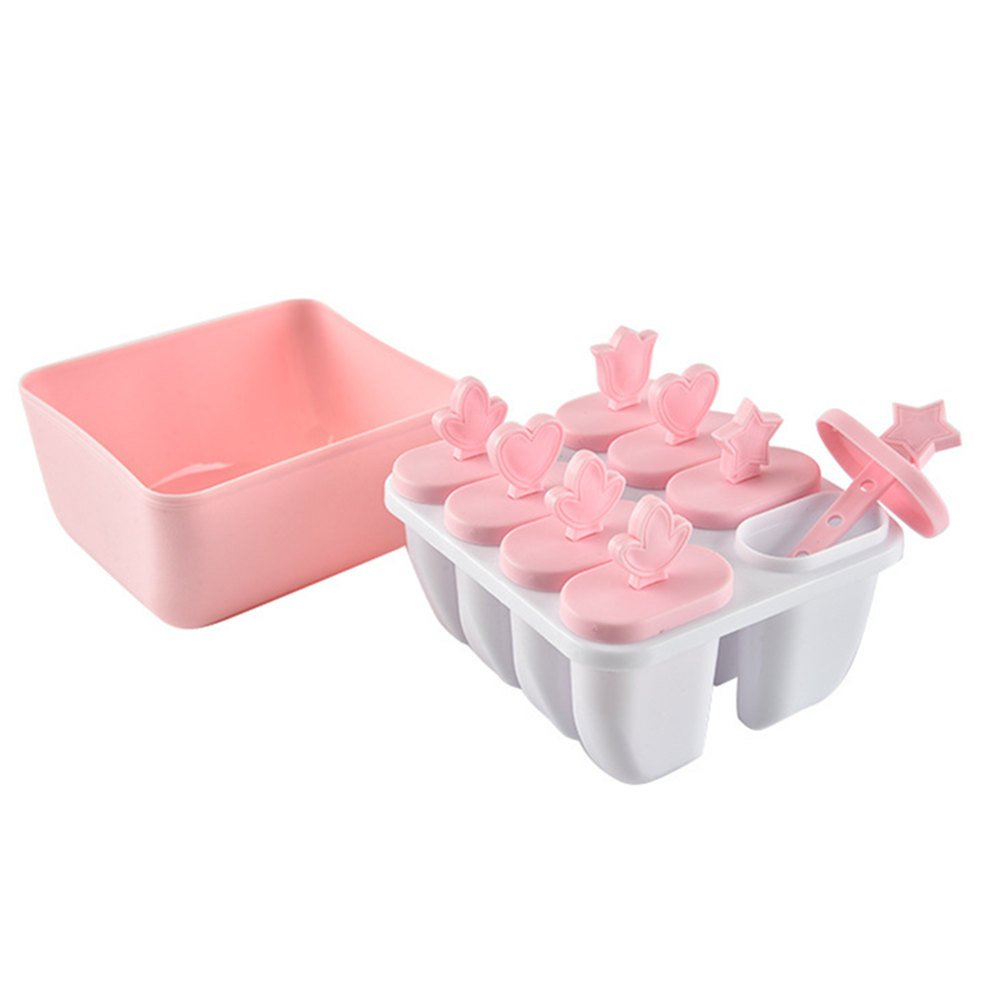 Spritumn 8 Cell Pop Popsicle Maker Lolly Mould Tray Kitchen Frozen Ice Cream DIY Mold,Repeated Use Ice Popsicle Moulds Star Pop Moulds Perfect for DIY Home Made Ice Lollies Ice Pop Maker green
