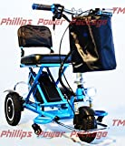 Enhance Mobility - Triaxe Sport Portable Folding Scooter - 3-Wheel - Blue - PHILLIPS POWER PACKAGE TM - TO $500 VALUE