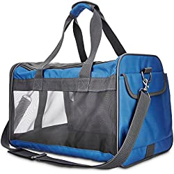Good2Go Basic Pet Carrier in Blue, for pets up to 16 lbs., Medium, Blue / Gray