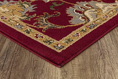 Mod-Arte Crown Collection Area Rug Contemporary Traditional Style Red Persian Inspired, Medallion Print Classic Borde 5 2 x 7 2
