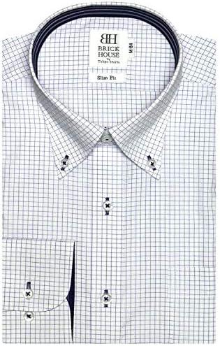ブリックハウス ワイシャツ 長袖 形態安定 ボタンダウン スリム メンズ BM019507AA11B1A-14 ブルー M-80