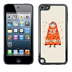 TopCaseStore / la caja del caucho duro de la cubierta de protección de la piel - Rain Deep Orange Russia Drawing - Apple iPod Touch 5