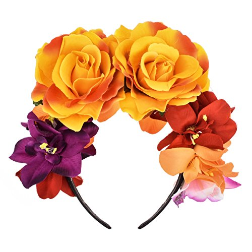 DreamLily Day of The Dead Headband Costume Rose Flower Crown Mexican Headpiece BC40 (Mexican Festival Crown Orange) -