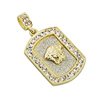 "Mens Gold Tone Hip Hop Bling Big Stone Medusa Head Stardust Dog Tag Pendant 3mm 24"" Solid Rope Chain"