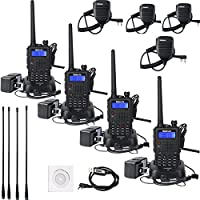 Retevis RT5 Ham Radio VHF/UHF 136-174/400-520MHz Scan VOX FM Two Way Radio Walkie Talkie (4pack) with Full Parts