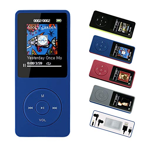 FenQan MP3 Player, HiFi Sound Multi-Color MP3 Music Player, 8GB Memory Support 128G TF Card, 70 Hours Playback with Multifunction Video, Photo Viewer and FM Radio-FQ12Blue