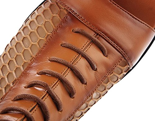 Fashciaga Women's Leather Gladiator Sandals Brown FrENrmq