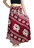 Banjamath® Women's Long Bohemian Style Gypsy Boho Hippie Skirt (M, Elephant Red)