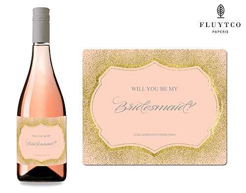 Will You Be My? - Set of 8 Gold Pink Wedding Labels for Wine Bottle & Gift Box - Bridesmaid & Maid of Honor Proposal Gift - Engagement Party - Bridal Shower
