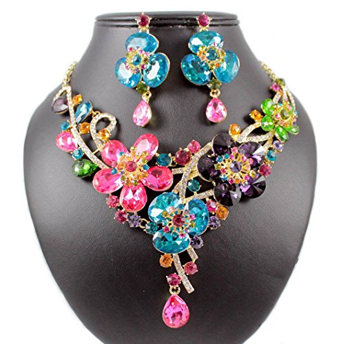 ulti-Color Colorful Austrian Rhinestone Crystal BIB Statement Necklace Earrings Jewelry Set Bridal Wedding Party Prom N1706M ()