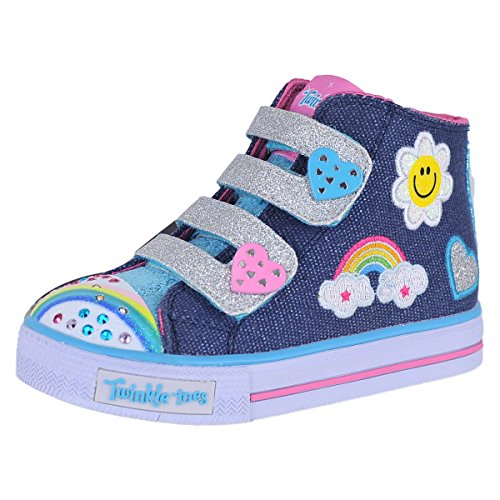 Skechers Kids Girls' Shuffles-Rainbow Beauty Sneaker,Denim/Multi,10 Medium US Toddler (Rainbow Denim)