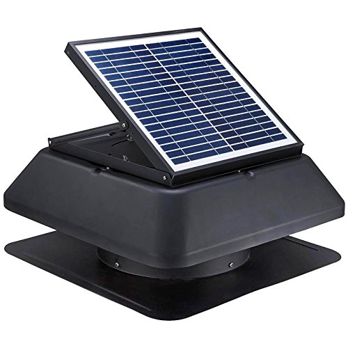 GBGS Solar Attic Fan 20W 1750 CFM, Adjustable Polycrystalline Solar Panel, Rust Free Roof Mounted, Easy Installation, Noise Less Than 45lb, 14in Air Duct For Garage, Hot, Environment (20x20x13in) by GBGS