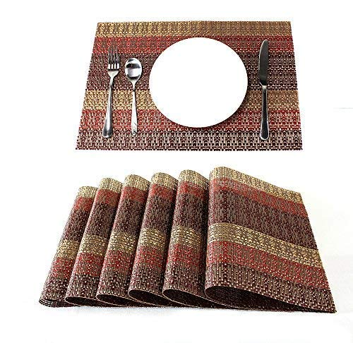 Lavin Placemats, Set of 6, Food Grade Stripe Golden Red, Wipe Clean Heavy Duty Vinyl Woven Stain Resistant and Heat-Resistant, Perfect for Holidays Dining Table Kitchen and Every Day Use, 12×18 Inch