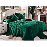 Luxe Soft Faux Fur Sea Green Six Piece King Size Set