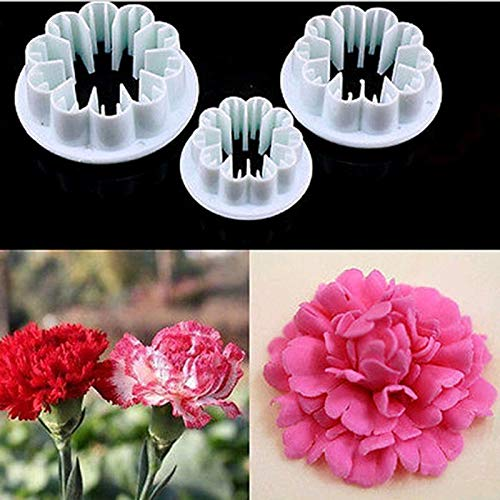 Cookie Mold - 3pcs Plastic Blossom Carnation Flower Diy Fondant Sugar Craft Mould Cutter Gum Paste Decor Cake - Christmas Gun Princess Tube Covered Round Mini Cutter Pin German ()