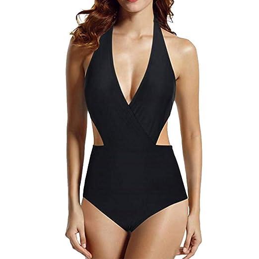 79ce913e37 LisYOU Women Bikini One Piece High Waisted Halter Backless Plus Size  Bodysuit Monokini Padded Bra (